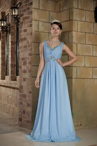 Brush Train Light Blue Column Straps Floor-length Beaded Homecoming Dress