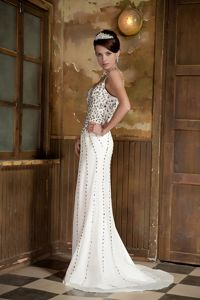 Column Straps Brush Train Tight Homecoming Dresses with Beading in White