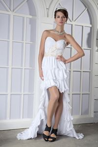 High-low White Column Sweetheart Homecoming Dance Dresses with Ruffled Layers