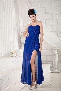 Blue Empire Sweetheart Slit Floor-length Evening Homecoming Dress with Flowers