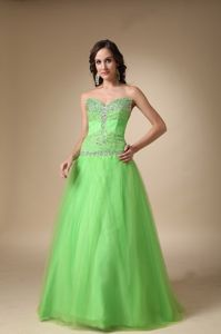 Beaded Floor-length Spring Green A-line Sweetheart Evening Homecoming Dresses