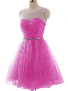 Mini Length Fuchsia Homecoming Party Dress Tulle Sleeveless Beading and Ruching