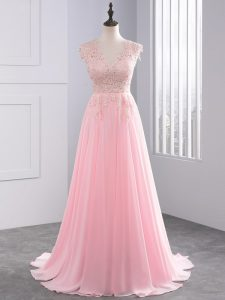 Classical Baby Pink Side Zipper Homecoming Dress Appliques Sleeveless Brush Train