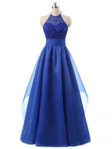 Organza Halter Top Sleeveless Zipper Beading and Ruffles Junior Homecoming Dress in Blue