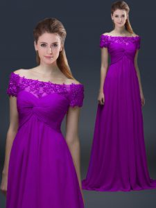 Comfortable Purple Empire Appliques Prom Homecoming Dress Lace Up Chiffon Short Sleeves Floor Length