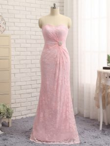 Baby Pink Column/Sheath Sweetheart Sleeveless Lace Floor Length Zipper Beading and Lace and Appliques Hoco Dress