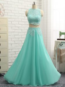 Sweet Apple Green Chiffon Side Zipper Hoco Dress Sleeveless Mini Length Lace and Appliques