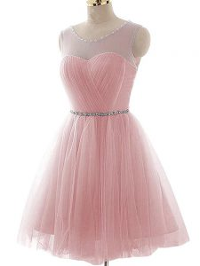 Beauteous Scoop Sleeveless Tulle Beading and Ruching Lace Up