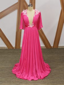 V-neck Half Sleeves Chiffon Homecoming Dresses Lace and Appliques and Pleated Sweep Train Backless