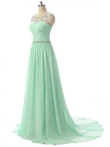 Apple Green Hoco Dress Prom and Military Ball and Beach with Beading and Ruching Scoop Sleeveless Brush Train Zipper