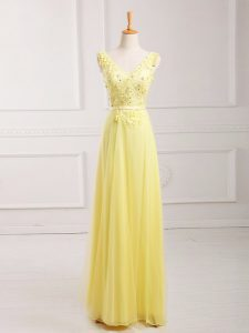 Super Yellow Empire Chiffon V-neck Sleeveless Lace and Appliques and Belt Floor Length Zipper Homecoming Dress