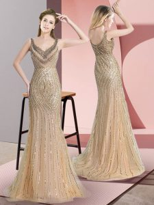 Beading and Sequins Homecoming Dress Champagne Zipper Sleeveless Brush Train