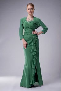 Green Sleeveless Beading Floor Length Prom Homecoming Dress