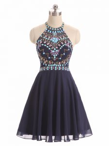 Adorable Black Sleeveless Chiffon Side Zipper Homecoming Dress Online for Prom and Party and Beach