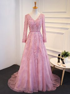 New Arrival Pink Homecoming Dresses V-neck Long Sleeves Brush Train Lace Up