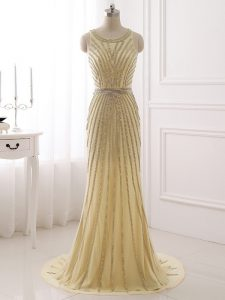Zipper Homecoming Party Dress Champagne for Prom and Party and Sweet 16 with Beading and Belt Brush Train