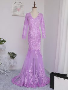 Deluxe Lilac Tulle Side Zipper Homecoming Dress Long Sleeves Brush Train Lace and Appliques