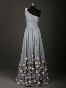 Chiffon One Shoulder Sleeveless Backless Pleated and Belt and Hand Made Flower Homecoming Party Dress in Grey