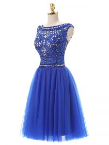 High Quality Royal Blue Sleeveless Tulle Zipper Homecoming Party Dress for Prom and Party and Sweet 16