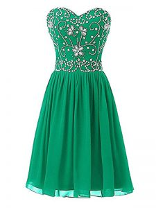 Green Homecoming Dress Prom and Party and Sweet 16 and Beach with Beading Sweetheart Sleeveless Zipper