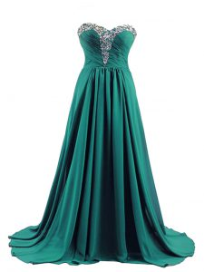 Turquoise Lace Up Hoco Dress Beading Sleeveless Brush Train