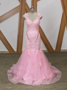 Adorable Baby Pink Mermaid V-neck Cap Sleeves Tulle Backless Beading and Lace and Appliques and Ruffles Homecoming Gowns