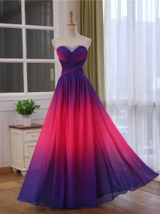 Chic Multi-color Sleeveless Floor Length Beading and Ruching Lace Up