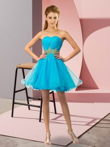 Trendy Sweetheart Sleeveless Homecoming Dresses Mini Length Beading and Ruching Baby Blue Tulle