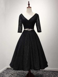Hot Sale Black A-line Lace V-neck Half Sleeves Lace and Belt Ankle Length Lace Up Homecoming Dresses