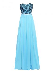 Decent Aqua Blue Empire Sweetheart Sleeveless Chiffon Floor Length Zipper Lace and Appliques Homecoming Dress Online
