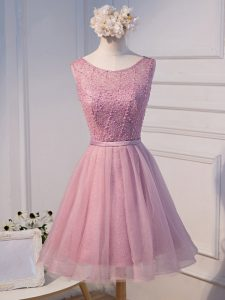 Pink A-line Tulle Scoop Sleeveless Beading and Belt Mini Length Lace Up Hoco Dress