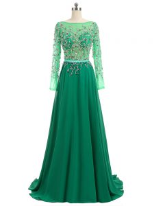 Attractive Green Bateau Backless Beading Homecoming Gowns Brush Train Long Sleeves