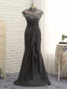 Sexy Cap Sleeves Chiffon Floor Length Zipper Homecoming Dresses in Black with Lace and Ruching