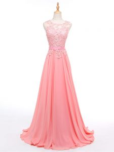 Fantastic Watermelon Red Prom and Military Ball and Sweet 16 with Beading and Lace Sleeveless Brush Train Lace Up