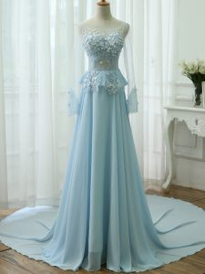 Scoop Long Sleeves Chiffon Hoco Dress Beading and Appliques Zipper