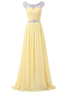 Sleeveless Chiffon Floor Length Backless in Light Yellow with Beading and Ruching