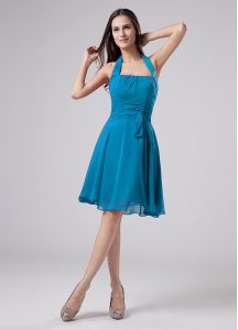 Teal Hoco Dress Prom and Party and Beach with Belt Halter Top Sleeveless Zipper