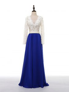 Custom Fit Blue And White V-neck Neckline Lace and Appliques Homecoming Dress Online Long Sleeves Zipper