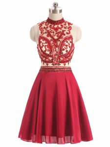 Clearance Halter Top Sleeveless Junior Homecoming Dress Mini Length Beading Red Chiffon