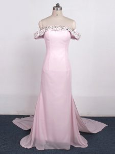 Edgy Baby Pink Zipper Hoco Dress Beading Sleeveless Watteau Train