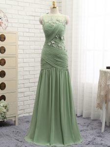 Chiffon Sleeveless Hoco Dress Brush Train and Ruching and Hand Made Flower