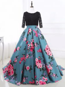 Multi-color Mermaid Scoop Long Sleeves Printed Brush Train Backless Lace and Appliques Prom Homecoming Dress