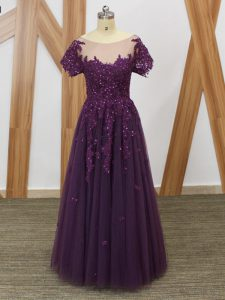 Purple Empire Scoop Short Sleeves Tulle Floor Length Zipper Lace and Appliques Homecoming Party Dress