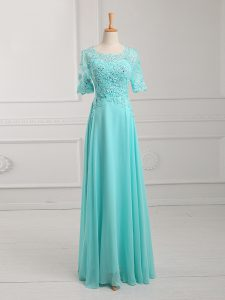 Superior Chiffon Half Sleeves Floor Length Hoco Dress and Lace and Appliques