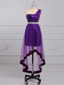 Purple Empire One Shoulder Sleeveless Tulle and Sequined Zipper Beading Homecoming Dresses
