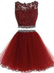 Super Sleeveless Mini Length Beading and Lace and Appliques Zipper Prom Homecoming Dress with Burgundy