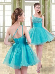 Mini Length Aqua Blue Homecoming Dress Organza Sleeveless Beading