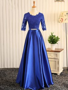 Floor Length Blue Junior Homecoming Dress Scoop Half Sleeves Zipper