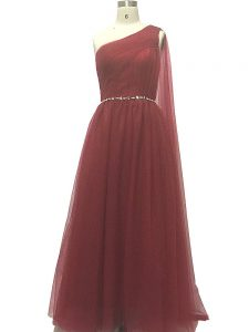 Burgundy Chiffon Zipper One Shoulder Sleeveless Homecoming Gowns Sweep Train Beading and Pleated