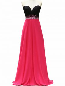 Pink And Black Zipper Homecoming Party Dress Beading Sleeveless Floor Length